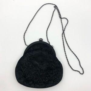 Vintage Magid Black Floral Beaded Mini Evening Bag